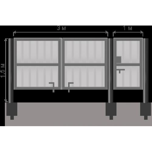 Ворота+калитка 1.5 м (База(